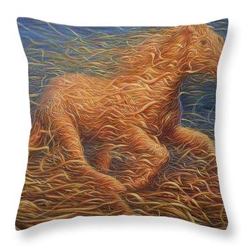 Running Swirly Horse Throw Pillow