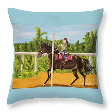 Running The Poles Throw Pillow
