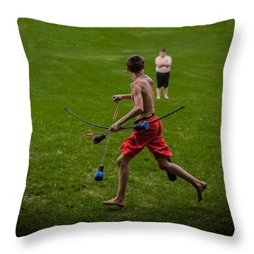 Running With Arrows Throw Pillow by Ray Congrove
