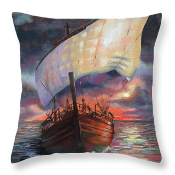 Running With The Dolphins At Sunset Throw Pillow