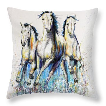 Running With The Herd Horse Painting Throw Pillow