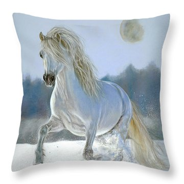 Running With The Moon Throw Pillow