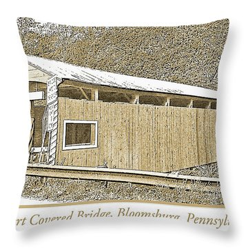 Throw Pillow featuring the digital art Rupert Covered Bridge Bloomburg Pennsylvania by A Gurmankin