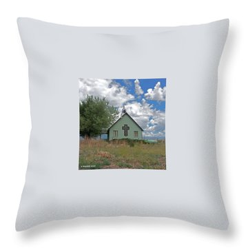 Rural Church Throw Pillow