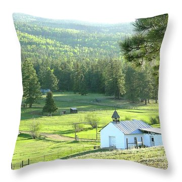 Rural Church In The Valley Throw Pillow