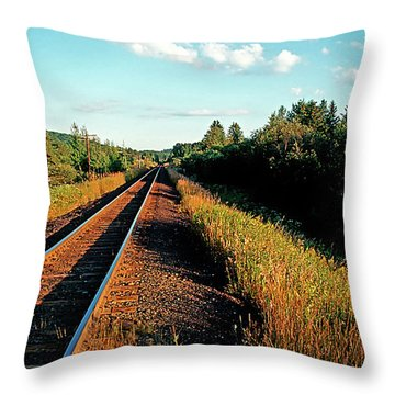 Rural Country Side Train Tracks Throw Pillow