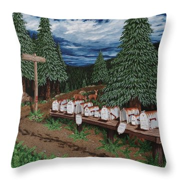 Throw Pillow featuring the painting Rural Delivery by Katherine Young-Beck