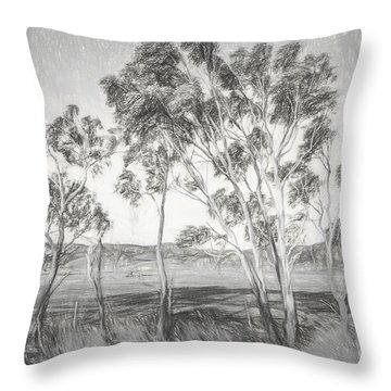 Rural Landscape Pencil Sketch Throw Pillow