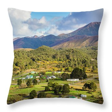 Rural Landscape With Mountains And Valley Village Throw Pillow