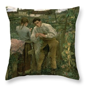 Rural Love Throw Pillow by Jules Bastien Lepage