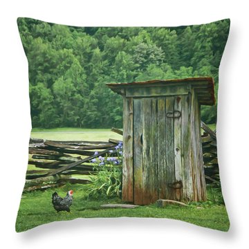 Throw Pillow featuring the photograph Rural Outhouse by Nikolyn McDonald