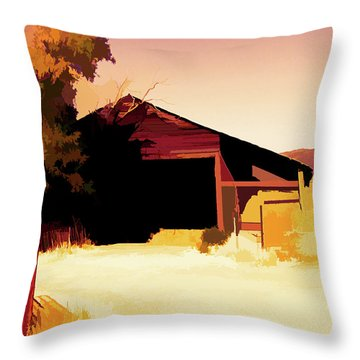 Rural Pop No 1 Hay Shed And Tree Throw Pillow