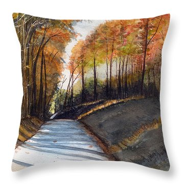 Rural Route In Autumn Throw Pillow