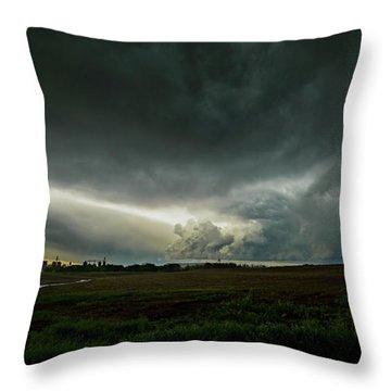 Rural Spring Storm Over Chester Nebraska Throw Pillow by Art Whitton