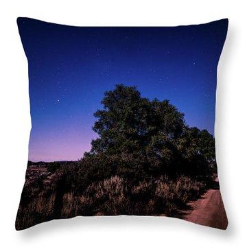 Rural Starlit Road Throw Pillow