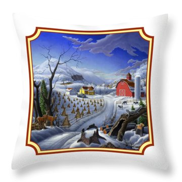 Rural Winter Country Farm Life Landscape - Square Format Throw Pillow
