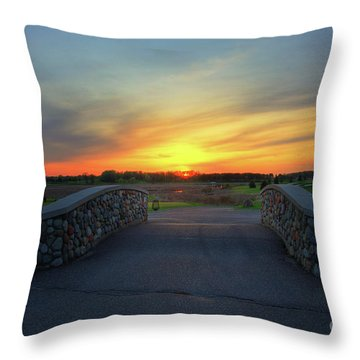 Rush Creek Golf Course The Bridge To Sunset Throw Pillow