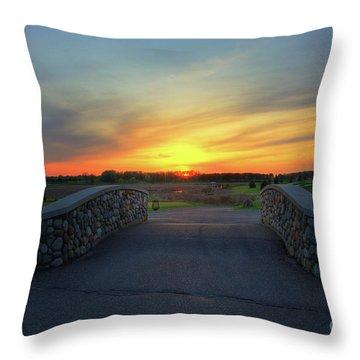 Rush Creek Golf Course The Bridge To Sunset Throw Pillow