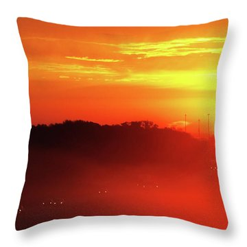 Rush Hour Begins At Sunrise I 94 To Madison Wisconsin Throw Pillow