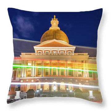 Rush Hour In Front Of The Massachusetts Statehouse Throw Pillow