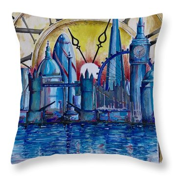 Throw Pillow featuring the painting Rush Hour In London by Geni Gorani