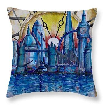 Rush Hour In London Throw Pillow