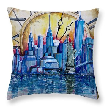 Throw Pillow featuring the painting Rush Hour In New York  by Geni Gorani