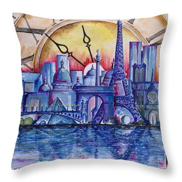 Throw Pillow featuring the painting Rush Hour In Paris by Geni Gorani