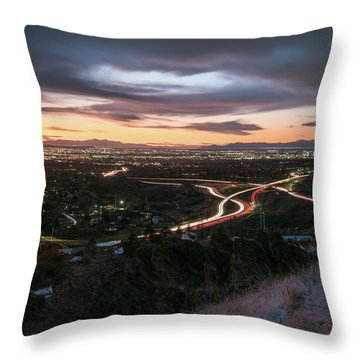 Rush Hour In Salt Lake City Throw Pillow
