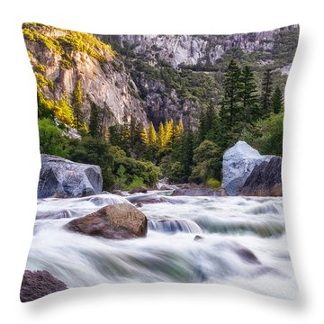 Rush Of The Merced Throw Pillow
