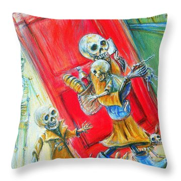 Throw Pillow featuring the painting Rushing by Heather Calderon