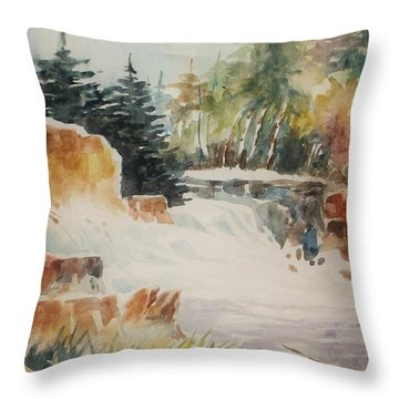 Rushing Streambed Throw Pillow by Al Brown
