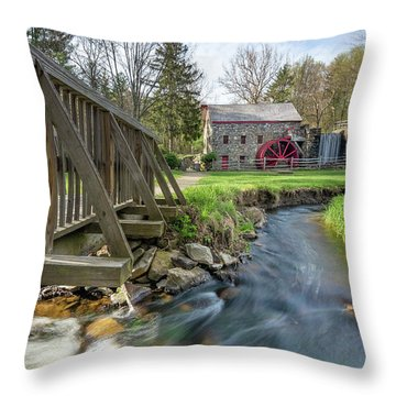 Rushing Water At The Grist Mill Throw Pillow