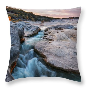 Rushing Waters At Pedernales Falls State Park - Texas Hill Country Throw Pillow