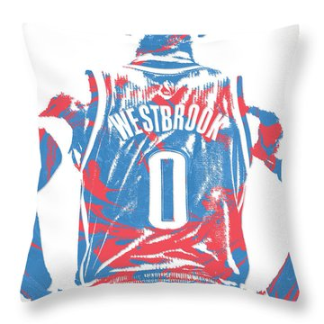 Russell Westbrook Oklahoma City Thunder Pixel Art 16 Throw Pillow