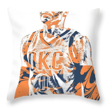 Russell Westbrook Oklahoma City Thunder Pixel Art 35 Throw Pillow