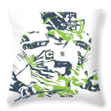Russell Wilson Seattle Seahawks Pixel Art 10 Throw Pillow