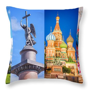 Russia Collage Throw Pillow