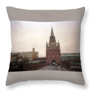Russia Kremlin Entrance  Throw Pillow by Ted Pollard