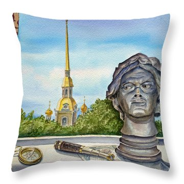 Russia Saint Petersburg Throw Pillow by Irina Sztukowski