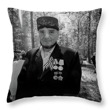Throw Pillow featuring the photograph Russian Afghanistan War Veteran by John Williams