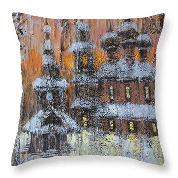 Russian Church Under Snow Throw Pillow