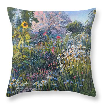 Russian Olive Among Daisies Throw Pillow