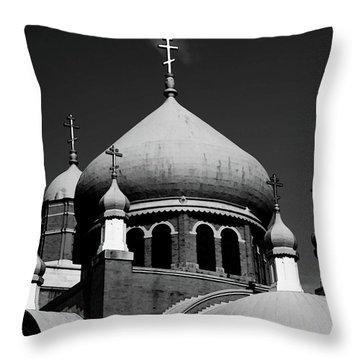 Russian Orthodox Church Bw Throw Pillow by Karol Livote