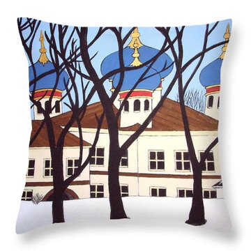 Russian Orthodox Church Throw Pillow by Stephanie Moore