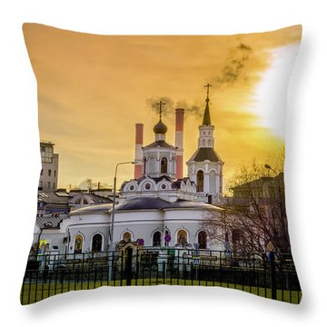 Throw Pillow featuring the photograph Russian Ortodox Church In Moscow, Russia by Alexey Stiop