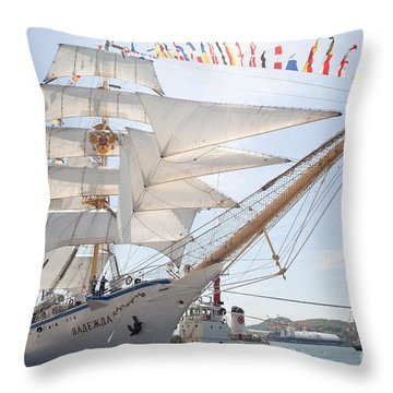 Russian Sailing Ship Throw Pillow by Aiolos Greek Collections