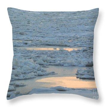 Russian Waterway Frozen Over Throw Pillow by Margaret Brooks