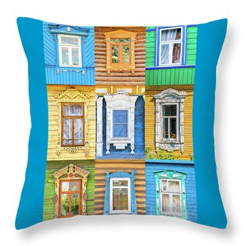 Throw Pillow featuring the photograph Russian Windows by Delphimages Photo Creations