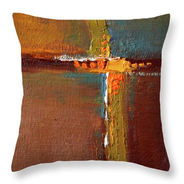 Throw Pillow featuring the painting Rust Abstract Painting by Nancy Merkle